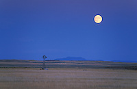 Full moon over Water well, Wyoming, USA