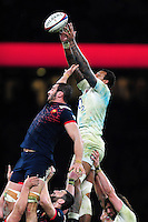 Courtney Lawes of England wins the ball at a lineout. RBS Six Nations match between England and France on February 4, 2017 at Twickenham Stadium in London, England. Photo by: Patrick Khachfe / Onside Images