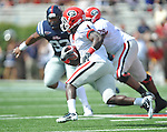 Georgia running back Isaiah Crowell (1) runs at Vaught-Hemingway Stadium in Oxford, Miss. on Saturday, September 24, 2011. Georgia won 27-13.