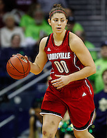SOUTH BEND, IN - FEBRUARY 11: Sara Hammond #00 of the Louisville Cardinals dribbles the ball up court during the game against the Notre Dame Fighting Irish at Purcel Pavilion on February 11, 2013 in South Bend, Indiana. Notre Dame defeated Louisville 93-64. (Photo by Michael Hickey/Getty Images) *** Local Caption *** Sara Hammond