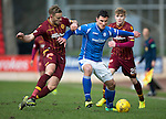 St Johnstone v Motherwell&hellip;20.02.16   SPFL   McDiarmid Park, Perth<br />John Sutton holds off Louis Laing<br />Picture by Graeme Hart.<br />Copyright Perthshire Picture Agency<br />Tel: 01738 623350  Mobile: 07990 594431