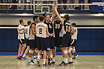 27 APR 2014: Juniata College reacts after scoring agains Springfield College  during the Division III Men's Volleyball Championship held at the Kennedy Sports Center in Huntingdon, PA. Springfield defeated Juniata 3-0 to win the national title.  Mark Selders/NCAA Photos