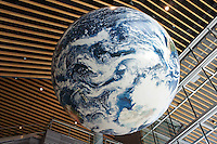 Giant Earth globe in the atrium of the Vancouver Convention Centre, Vancouver, BC, Canada
