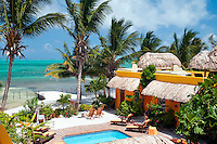 Caye Caulker, Belize, April 2012. Seaside Cabana's is a luxury accomodation in the heart of Caye Caulker. Enjoy the beach sand and Caribbean Sea, explore the underwater wonders, try the tasty seafood specials, or experience the laid-back island life. With a population of approximately 1,200 people, the island appeals to visitors looking for a comfortable place to sleep, a white sandy beach, clear aquamarine waters, a variety of bird life, and friendly people. Spend the day snorkeling, fishing, diving, or laying peacefully in your own hammock. In contrast to many other bustling destinations, Caye Caulker has managed to maintain its cozy island appeal.Photo by Frits Meyst/Adventure4ever.com