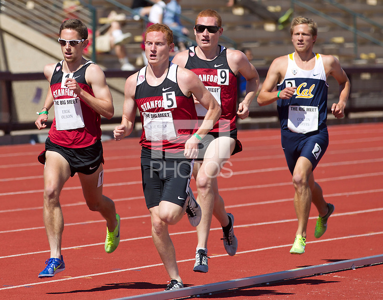 Stanford, CA., April 20, 2013,--Stanford's Joe Rosa runs in the 119 Big Meet at Cobb Track and Angell Field at Stanford University.