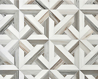 Rubicon, a stone waterjet mosaic  shown in Skyline and Snow White, is part of the Talya Collection by Sara Baldwin for Marble Systems.