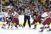 Danny Biega (Harvard - 9), Alex Fallstrom (Harvard - 16), Drew Leblanc, Patrick Brown (BC - 23) - The Boston College Eagles defeated the Harvard University Crimson 4-1 in the opening round of the 2013 Beanpot tournament on Monday, February 4, 2013, at TD Garden in Boston, Massachusetts.