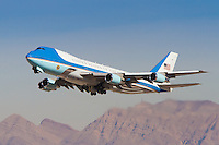 26 January 2012: Air Force One takes off from McCarran International Airport on it's way to Buckley Air Force Base in Colorado. President Barack Obama was in Las Vegas promoting greater domestic energy production and investment in cleaner energy sources. (Photo by Jeff Speer. © Copyright JeffSpeer.com)