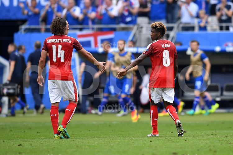 FUSSBALL EURO 2016 GRUPPE C IN PARIS Island - Oesterreich             22.06.2016 Julian Baumgartlinger (li) und David Alaba (re. beide Oesterreich)