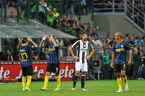 18.09.2016. San Siro Stadium, Milan, Italy. Mauro Icardi celebrates after the first goal during Italian Serie A League Football. Inter versus Juventus.