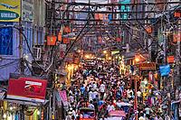 A busy street in Old Delhi near Jama Masjid.