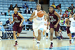 12 December 2012: North Carolina's Tierra Ruffin-Pratt (44) is chased by NC Central's Tisha Dixon (25) and Chasidy Williams (24). The University of North Carolina Tar Heels played the North Carolina Central University Eagles at Carmichael Arena in Chapel Hill, North Carolina in an NCAA Division I Women's Basketball game. UNC won the game 49-21.