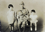 vintage family photo children and father in military uniform early 1940s