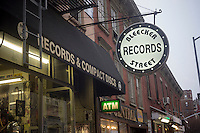 Bleecker Street Records in the Greenwich Village neighborhood of New York is seen on Thursday, January 17, 2013. The iconic used record store which has been at its location for over 20 years is facing a significant rent increase and may have to relocate or even close.  (© Richard B. Levine)