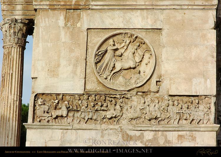 Arch of Constantine 315 AD East Medallion and Frieze Via Triumphalis Rome