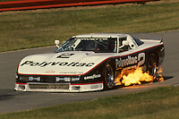 LEXINGTON, OH - JUNE 5: Greg Pickett drives the  Polyvoltac/Protofab Chevrolet Corvette en route to a second place finish in the Nissan Grand Prix of Mid-Phio IMSA GTO/GTU race at the Mid-Ohio Sports Car Course near Lexington, Ohio, on June 5, 1988.