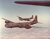 The B-29 bomber, produced by the Boeing Aircraft Company during the war, was the first long-range heavy bomber employed by the United States. It was primarily used in the war's Pacific Theater, and became notorious as the plane used to drop the world's first atomic bombs on the cities of Hiroshima and Nagasaki, Japan, August 6 and 9, 1945.  The Boeing B-29 was designed in 1940 as an eventual replacement for the B-17 and B-24. The first one built made its maiden flight on September 21, 1942. Developing the Boeing B-29 was a program which rivaled the Manhattan Project in size and expense. Technically a generation ahead of all other heavy bomber types in World War II, the Superfortress was pressurized for high altitudes and featured remotely-controlled gun turrets. Most important, its four supercharged Wright R-3350-23 engines gave it the range to carry large bomb loads across the vast reaches of the Pacific Ocean..Credit: U.S. Air Force via CNP