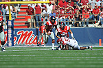 Ole Miss quarterback Randall Mackey (1) runs vs. Arkansas at Vaught-Hemingway Stadium in Oxford, Miss. on Saturday, October 22, 2011. .