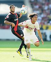 FUSSBALL   1. BUNDESLIGA  SAISON 2011/2012   3. Spieltag     20.08.2011 VfB Stuttgart - Bayer Leverkusen        Shinji Okazaki (VfB Stuttgart,re)  gegen Eren Derdiyok (Bayer 04 Leverkusen,li)