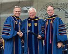 May 17, 2015; Oxford University Chancellor Christopher Patten (Lord Patten of Barnes) receives an honorary doctorate from University of Notre Dame President Rev. John Jenkins, C.S.C., left, and Notre Dame Board of Trustees Chairman Richard Notebaert at the 2015 Commencement ceremony. (Photo by Matt Cashore/University of Notre Dame)