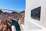 Hoover Dam View with Historic Plaque and New Highway Bridge