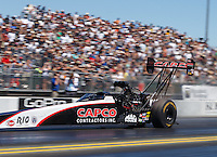 Jul 30, 2016; Sonoma, CA, USA; NHRA top fuel driver Steve Torrence during qualifying for the Sonoma Nationals at Sonoma Raceway. Mandatory Credit: Mark J. Rebilas-USA TODAY Sports