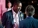 Actor Dennis Haysbert speaks with press before the start of Tuesday's viewing party for the 2011 Victoria's Secret Fashion Show.