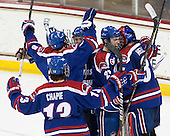 Adam Chapie (UML - 13), Colin Wright (UML - 8), Jake Suter (UML - 28), Gregory Amlong (UML - 22), Connor Hellebuyck (UML - 37) - The University of Massachusetts Lowell River Hawks defeated the Boston College Eagles 4-2 (EN) on Tuesday, February 26, 2013, at Kelley Rink in Conte Forum in Chestnut Hill, Massachusetts.