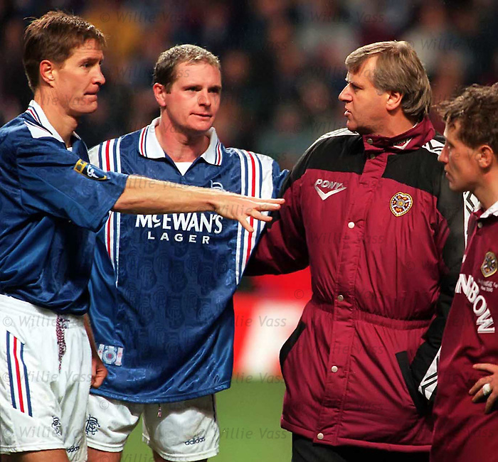 Jim Jefferies Hearts Manager has a go at Richard Gough and Paul Gascoigne after a bad tempered match at Tynecastle