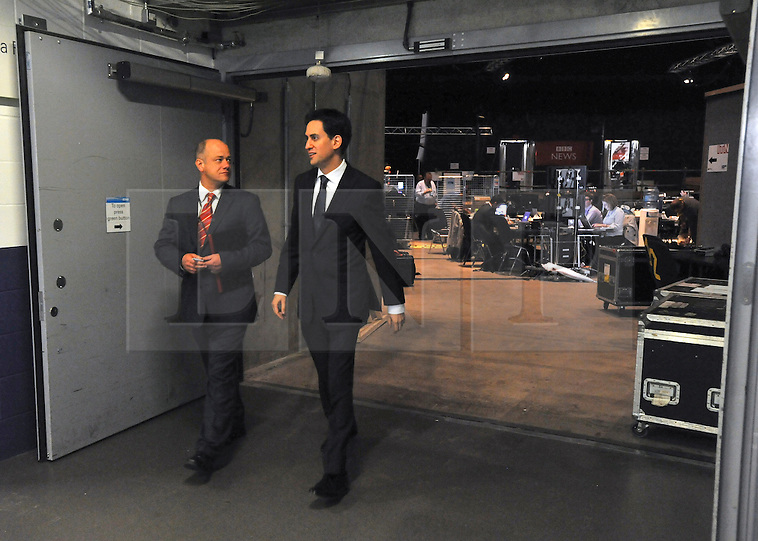&copy; Licensed to London News Pictures. 29/09/2011. LONDON, UK. Ed Miliband, the Leader of the Labour Party leaves the media centre after taking part in a live TV interview in a temporary studio in the conference arena at The Labour Party Conference in Liverpool today (29/09/11). Photo credit:  Stephen Simpson/LNP