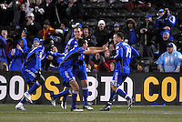 Wizards players celebrate Jack Jewsbury's goal...Kansas City Wizards defeated D.C Utd 4-0 in their home opener at Community America Ballpark, Kansas City, Kansas.