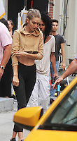 NEW YORK, NY-July 26: Gigi Hadid shooting a ReeBoks Commerical in New York. NY July 26, 2016. Credit:RW/MediaPunch