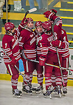 25 November 2014: The University of Massachusetts Minutemen celebrate a third period goal against the University of Vermont Catamounts at Gutterson Fieldhouse in Burlington, Vermont. The Cats defeated the Minutemen 3-1 to sweep the 2-game, home-and-away Hockey East Series. Mandatory Credit: Ed Wolfstein Photo *** RAW (NEF) Image File Available ***