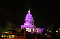 Texas State Capitol floodlit in Purple, Austin, Texas, USA
