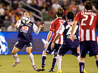 Pachuca FC forward Herculez Gomez (9) traps the ball with his chest. USA Chivas USA defeated Pachuca FC 1-0 during 2010 SuperLiga group play at Home Depot Center stadium in Carson, California Wednesday July 21, 2010.