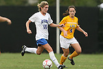 20 September 2009: Duke's Elisabeth Redmond (16) and LSU's Allysha Chapman (CAN) (4). The Duke University Blue Devils played the Louisiana State University Tigers to a 2-2 tie after overtime at Koskinen Stadium in Durham, North Carolina in an NCAA Division I Women's college soccer game.