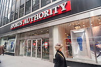 A Sports Authority store in New York on Thursday, February 4, 2016. The chain is reported to be preparing to file for Chapter 11 bankruptcy protection in anticipation of a debt payment due in 10 days. The chain also may close 200 of its stores. (© Richard B. Levine)