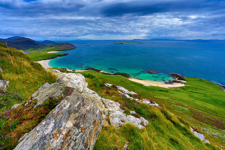 Emerald seas viewed from high in the Scottish highlands