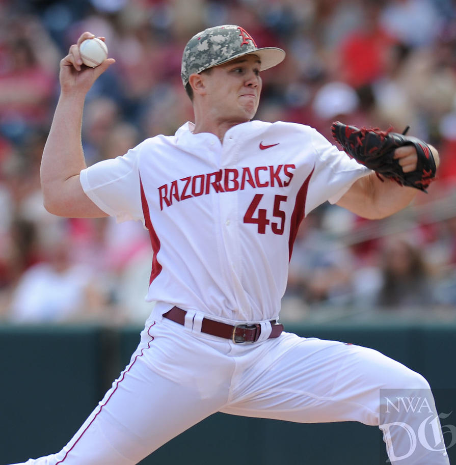 NWA Democrat-Gazette/ANDY SHUPE<br />Arkansas reliever Kevin Kopps delivers to the plate against Georgia Saturday, April 15, 2017, during the fourth inning at Baum Stadium in Fayetteville. Visit nwadg.com/photos to see more photographs from the game.