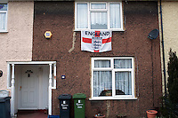 A house displaying an English St. George's Cross flag in Dagenham, East London.