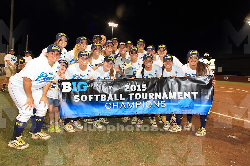 The University of Michigan Softball team win the 2015 Big Ten Softball Tournament. Columbus, OH, May 9, 2015