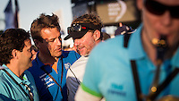 BRAZIL, Itajai. 6th April 2012. Volvo Ocean Race. Knut Frostad, CEO Volvo Ocean Race (left) and Ken Read, Skipper of Puma Ocean Race sponsored by BERG.