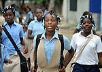 Girls leaving school in Batey Bombita, a community in the southwest of the Dominican Republic whose population is composed of Haitian immigrants and their descendents.