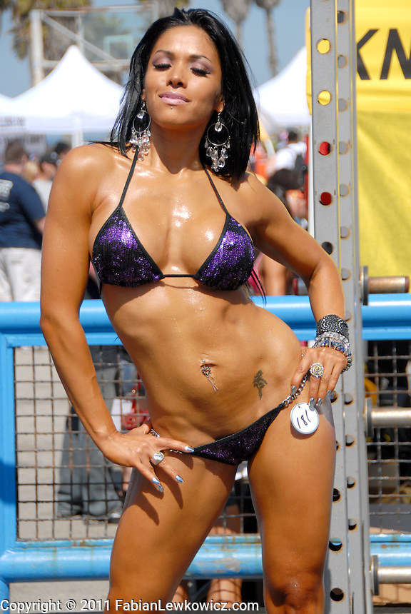 Bikini Competitor Adriana Guzman, who hails from Mexico,  poses for a photo during the Muscle Beach International Classic in Venice on Monday, May 30, 2011.