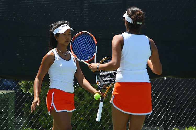 April 23, 2011; San Diego, CA, USA; Pepperdine Waves doubles Marie Zalameda and Anamika Bhargava during the championship round of the WCC Tennis Championships at the Barnes Tennis Center.