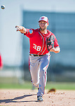 25 February 2016: Washington Nationals pitcher Taylor Jordan throws during the first full squad Spring Training workout at Space Coast Stadium in Viera, Florida. Mandatory Credit: Ed Wolfstein Photo *** RAW (NEF) Image File Available ***