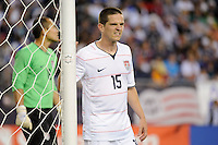 Sam Cronin (15) of the United States (USA) guards the near post. The United States and Haiti played to a 2-2 tie during a CONCACAF Gold Cup Group B group stage match at Gillette Stadium in Foxborough, MA, on July 11, 2009. .