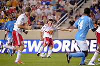 John Rooney (16) of the New York Red Bulls shoots and scores the game winning goal. The New York Red Bulls defeated FC New York 2-1 during a third round match of the 2011 Lamar Hunt US Open Cup at Red Bull Arena in Harrison, NJ, on June 28, 2011.