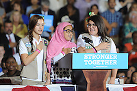CORAL SPRINGS, FL -  SEPTEMBER 30: Gabriella Ayon, Mya Massed and Savannah Broderson Pledge Of Allegiance prior to Democratic Prestidetial Candidate Hillary Clinton speaks during a rally at the Coral Springs Gymnasium on September 30, 2016 in Coral Springs, Florida. PCredit: mpi04/MediaPunch