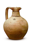 Stock photo of a Juglet White painted ware Cypro-archaic wine jug 750-475 BC Cyprus Wine Museum Isolated silhouette with a clipping path over white background